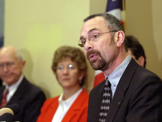 -  -Tualatin, Ore. Mayor Lou Ogden speaks during a