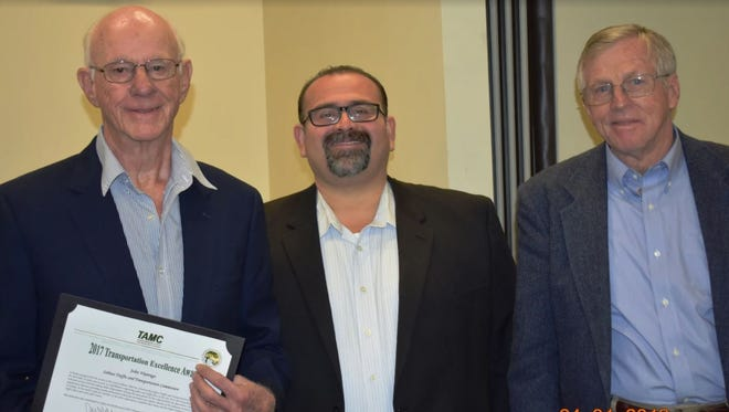 John Viarengo, 80, of Salinas received the TAMC award for Excellence from Alejandro Chavez, outgoing TAMC Board chair, and John Phillips, incoming board chair.