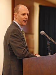 David Noble, a utility regulator from Nevada talks at the Arizona Energy Conference on March 16, 2016.