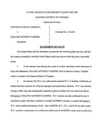 Front page of Noland Harper's plea agreement.