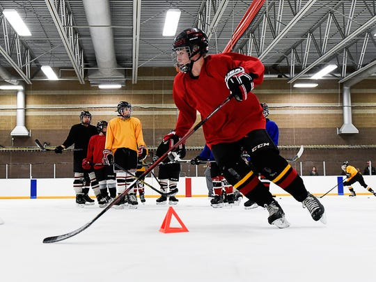 St. Cloud Bantam B Black hockey team practices Friday, Jan. 12, at the Herb Brooks National Hockey Center.