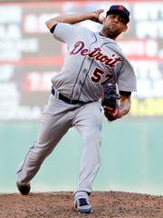 Tigers pitcher Francisco Rodriquez throws in the ninth
