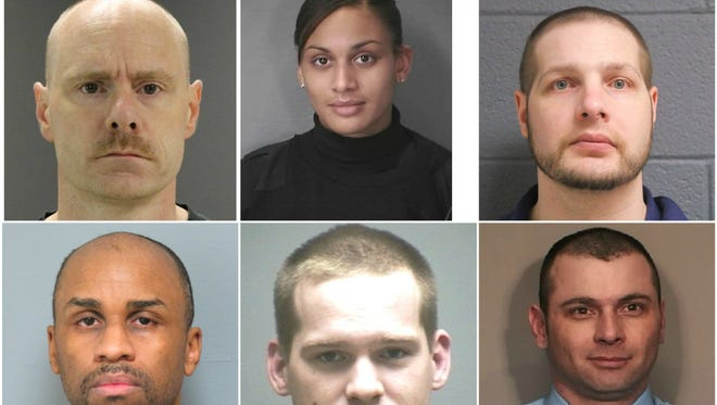 Mug shots of some of the Michigan police officers arrested in recent years.