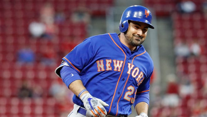 New York Mets' Adrian Gonzalez runs the bases after hitting a solo home run off Cincinnati Reds relief pitcher Jackson Stephens in the fifth inning of a baseball game, Monday, May 7, 2018, in Cincinnati.