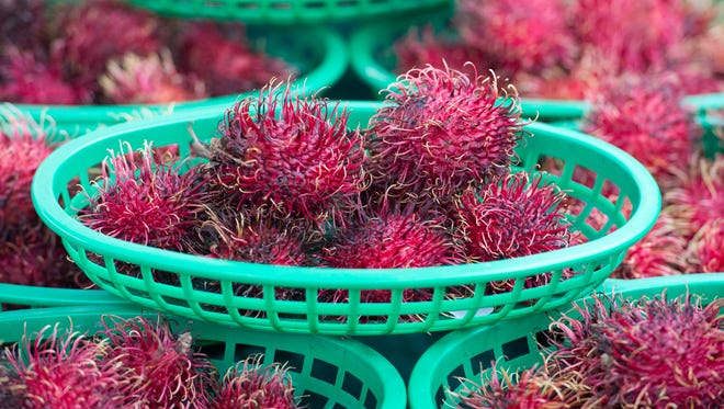 Baskets of rambutans, a fruit native to Southeast Asia, for sale with a variety of other tropical fruits Jan. 14, 2017, at the Downtown Fort Pierce Farmers' Market in Marina Square. The market is open every Saturday from 8 a.m. to noon, rain or shine. There's live music, dancing and more than 70 food, plant and craft vendors. On Saturday, the market will celebrate its 20th anniversary.