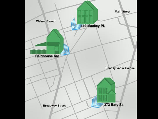 Graphic shows key locations in Lawrence Baker's murder
