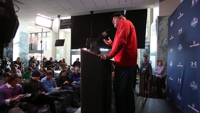 Arizona Cardinals coach Bruce Arians speaks to the media during the 2015 NFL Combine at Lucas Oil Stadium.