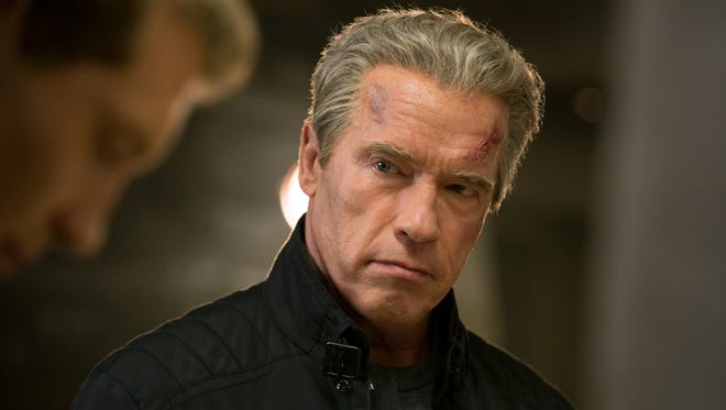 Jai Courtney plays Kyle Reese and Arnold Schwarzenegger plays the Terminator in 'Terminator Genisys.'