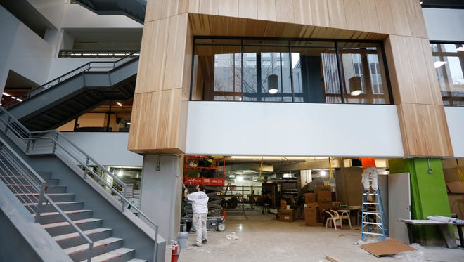 Work on the food court in the Partnership Building is nearly complete. The new area called Local Bites will include up to eight restaurants and a common seating area.