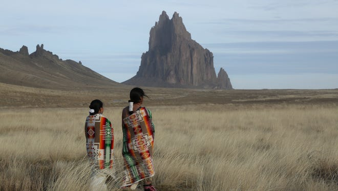 "From left, DeAndra Barber and Zachariah Ben, as Navajo ""First Woman"" and ""First Man,"" go searching for a crying baby in a reenactment of the first Kinaaldá in this image provided by the National Geographic Channel. A new episode of the show that airs on Sunday features a Navajo family from Farmington."