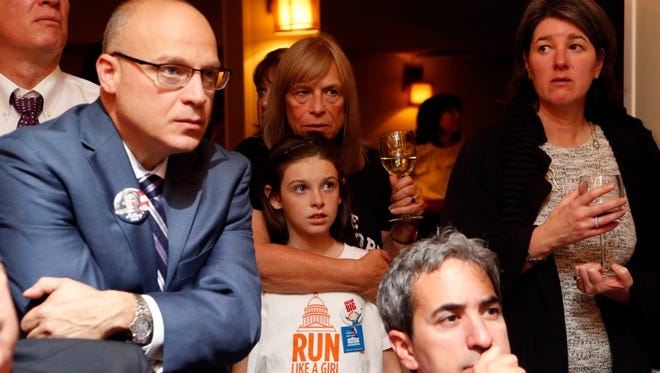 Hillary Clinton supporters Judy Elias of Port Jefferson and her granddaughter Abigail Dolan of Chappaqua wait anxiously as election results come in at the viewing party organized by Chappaqua Friends of Hillary Nov. 8, 2016 at Crabtree's Kittle House in Chappaqua.