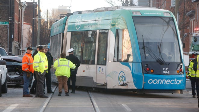 The streetcar's first derailment at Liberty and Elm streets in February.