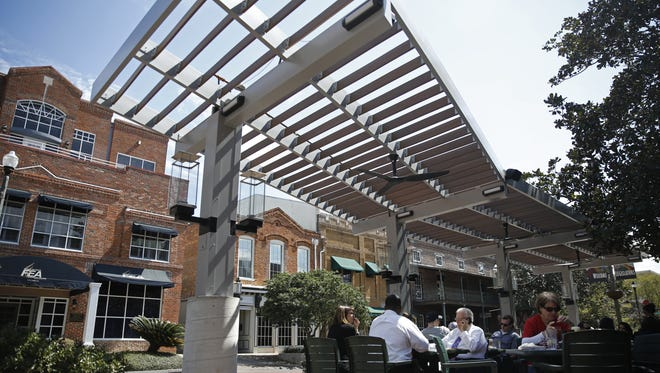 This pergola, pictured Monday, was added to the patio at Andrew's during recent renovations.