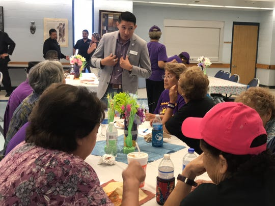 """District 2 City Council member Ben Molina visits with senior citizens at Oveal Williams Senior Center for the ninth opening of """"Beat the Heat"""" Centers in Corpus Christi on Thursday."""