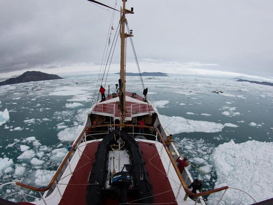 UC Irvine glaciologists aboard the MV Cape Race in