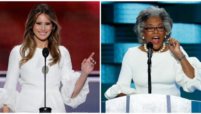 In this photo combo of 2016 file photos, Melania Trump, left, speaks at the Republican National Convention in Cleveland, and U.S. Rep. Joyce Beatty, right, speaks at the Democratic National Convention in Philadelphia. Beatty took the stage at the DNC on Thursday, July 28, in a dress that looked very similar to the one Trump wore during her remarks a week earlier at the RNC.