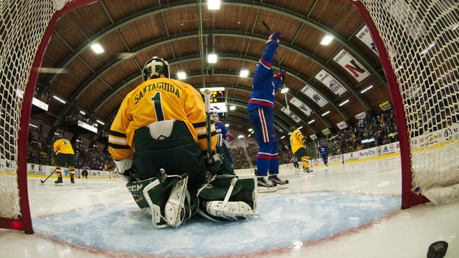 UMass Lowell celebrates a goal during the men's hockey game between UMass Lowell and Vermont at Gutterson Fieldhouse earlier this season.