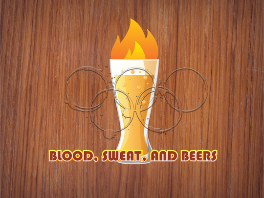 "The logo for the ""Blood, Sweat, and Beer"" craft beer festival and ""Beer Olympics."""