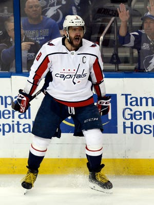 Washington Capitals left wing Alex Ovechkin celebrates a goal against the Tampa Bay Lightning during the first period of Game 7 of the Eastern Conference finals Wednesday, May 23, 2018, in Tampa, Fla.