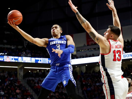 Kentucky guard Keldon Johnson puts up a shot Tuesday against Ole Miss.