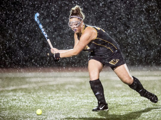 Red Lion's Peyton Shima takes a shot at the ball during Tuesday's 7-1 win against Northeastern.