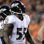 Baltimore Ravens outside linebacker Terrell Suggs (55) said after Thursday night's loss that they will meet the Denver Broncos again in the playoffs.