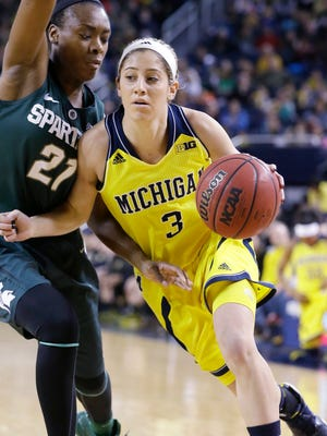 Michigan guard Katelynn Flaherty (3) drives on Michigan State guard Jasmine Lumpkin (21) during the first half of an NCAA college basketball game in Ann Arbor, Mich., Sunday, Jan. 4, 2015.