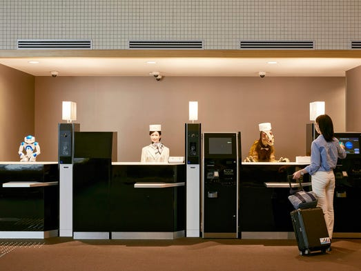 Robot receptionists welcome guests to the Henn na Hotel