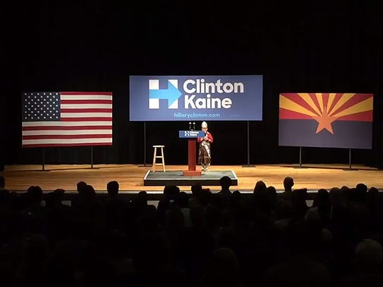 The Pledge of Allegiance in said in Navajo at the Bernie