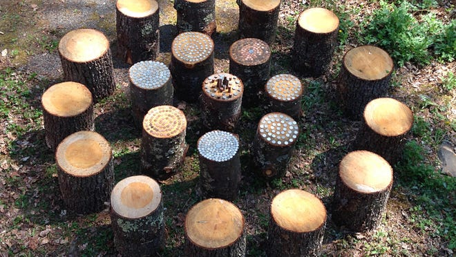 """Jessica Baker's """"Circle of Change"""" is made with tree logs and coins."""