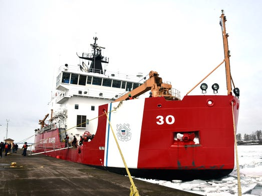The United States Coast Guard icebreaker Mackinaw is