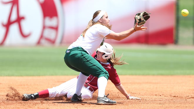 Haylie McCleney steals second base as USC Upstate shortstop Maddison Kieffer awaits throw in Saturday's game.