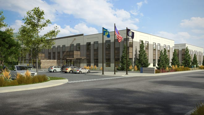 An architectural rendering of the new Oregon State Police headquarters in South Salem. The state saved $8 million on the building's lease through competitive negotiations, and expects to complete the project by May, 2016.