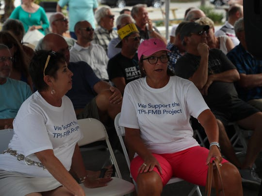 Proponents and opponents of the TPI Hospitality resorts project gather at Fort Myers Beach Town Hall on Monday, April 9, 2018. It is standing room only.