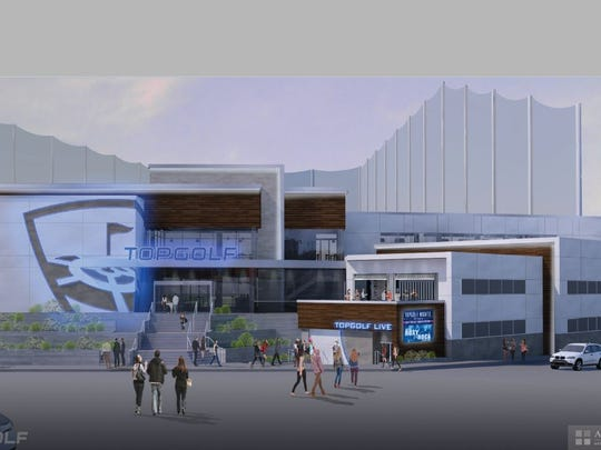 A rendering showing the Topgolf Live concert venue.