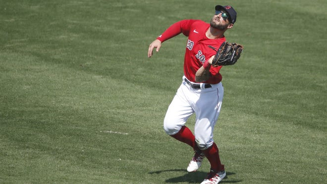 Boston's Kevin Pillar makes a catch in spring training earlier this season.