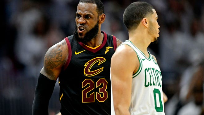 Cleveland Cavaliers forward LeBron James (23) reacts after a play against the Boston Celtics in game six of the Eastern conference finals of the 2018 NBA Playoffs at Quicken Loans Arena.