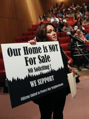 Claudia Gollub of Chestnut Ridge speaks during a Sept. 21, 2016, public meeting about whether a cease-and-desist zone should be created.