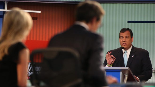 Republican presidential candidate New Jersey Gov. Chris Christie answers a question during the first Republican presidential debate at the Quicken Loans Arena Thursday, Aug. 6, 2015, in Cleveland. (AP Photo/Andrew Harnik)