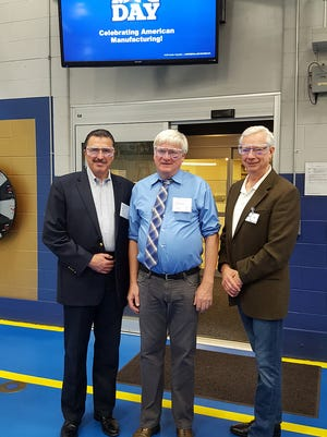 Kondex Corporation recently welcomed Rep. Glenn Grothmann to its facility to help celebrate National Manufacturing Day. Pictured from left: Association of Equipment Manufacturers (AEM) President Dennis Slater; Rep. Glenn Grothmann; and Kondex President Jim Wessing.