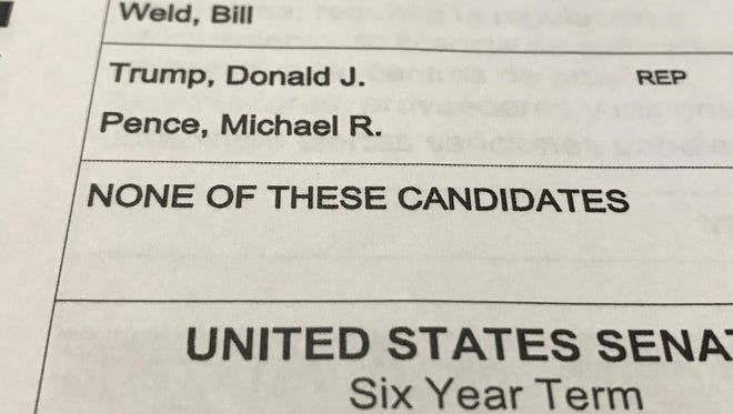 """A sample ballot from Washoe County, Nev. Nevada has a unique quirk by including """"none of these candidates"""" in statewide races."""
