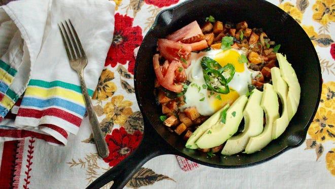 Sweet Potato Hash & Baked Eggs.