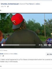 """Screen shot of a Fox News video retired Naples Police officer Charles Ankenbauer shared on Facebook. The video shows Black Lives Matter protesters confronting a Fox reporter during a rally in Missouri. Ankenbauer shared the video on his Facebook page and wrote """"Animals"""" above the post."""