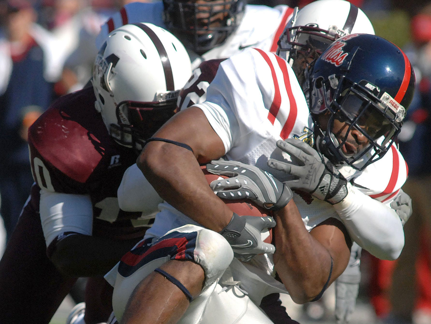 Ole Miss running back BenJarvus Green-Ellis was tackled on fourth-and-one from his own 49 yard line in the 2007 Egg Bowl, setting off a Mississippi State comeback.