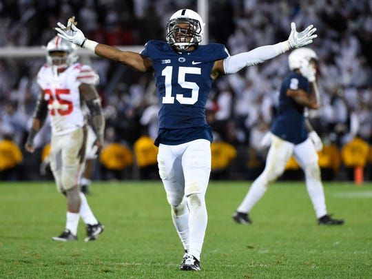 Penn State Nittany Lions cornerback Grant Haley scores the go-ahead TD off a blocked field goal against Ohio State in 2016.