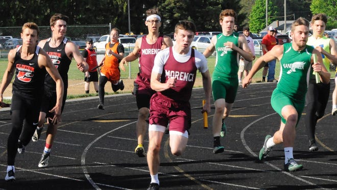 Morenci's Walker Whitehouse (middle) anchors Morenci's TCC championship 4x100-meter relay team during the 2019 TCC Championships.