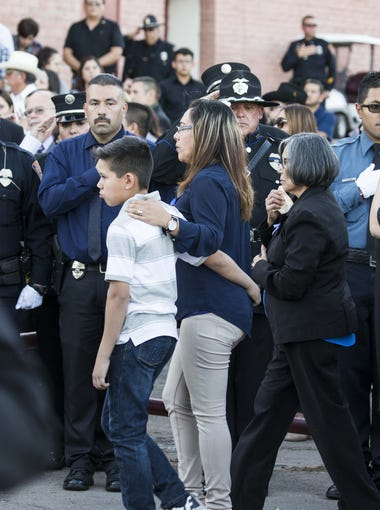 Jesus Cordova family were saluted by law enforcement officers at Nogales High School for a vigil dedicated to Officer Jesus Cordova on May 4, 2018. Cordova was gunned down by a robbery suspect last week.