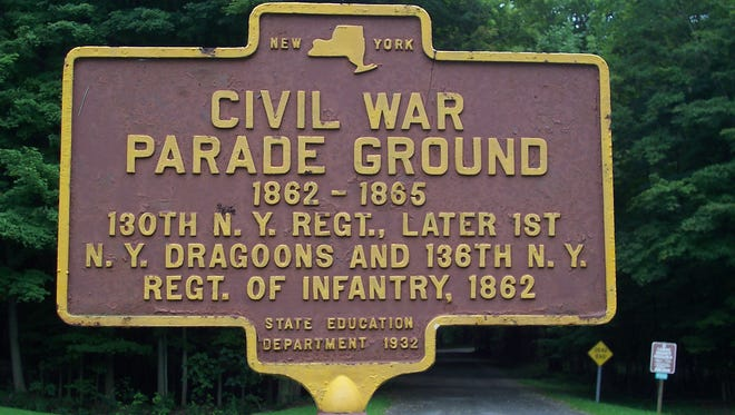A historical marker notes where Civil War soldiers from New York trained at Letchworth Park.