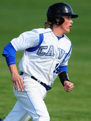 Blanchet Catholic's Harry Witwer-Dukes runs to third base against Rainier during the first round of the OSAA Class 3A state playoffs, on Wednesday, May 27, 2015, in Salem. Rainier won the game 6-5.