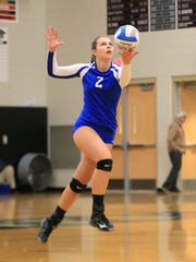 Getting set to serve the ball during Monday's Class A district contest is Salem's Kendall Gillen.